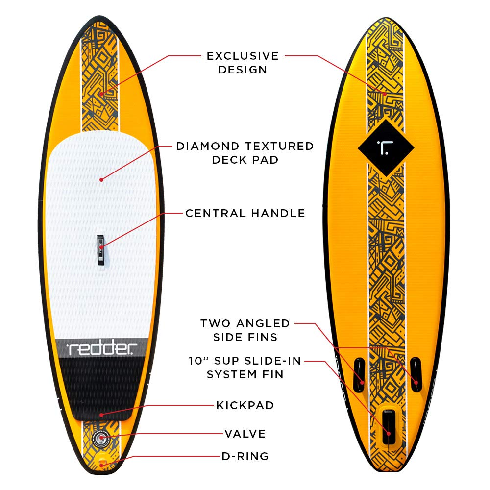 redder Inflatable Stand-up Paddle Board Rogue SUP for Surfing 9 with 3 Fins, Adjustable Paddle, Security Leash, Pump and Backpack