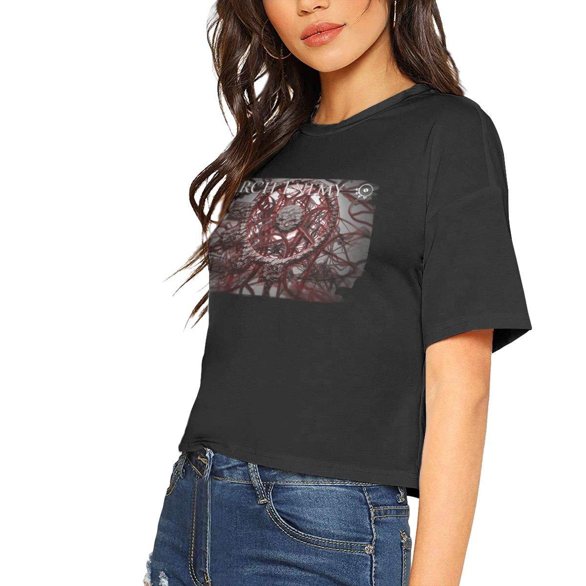 Arch Enemy Singer Rock Band Logo Basic Shirt Short Sleeve Shirt Leak Navel T Shirt 9147
