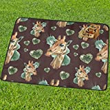InterestPrint Giraffe Watercolor Heart Love Shape Grass Picnic Camping Beach Blanket Mat 60 x 78 Inc