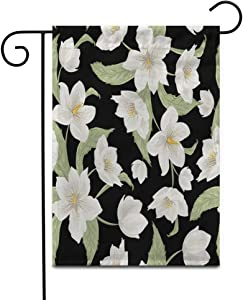"Awowee 12""x18"" Garden Flag Christmas Rose Hellebore Flowers on Watercolor Drawing Winter Lenten Helleborus Outdoor Home Decor Double Sided Yard Flags Banner for Patio Lawn"