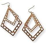 Fashion Earrings Dangle Diamond Shape Design on Gold Tone Metal