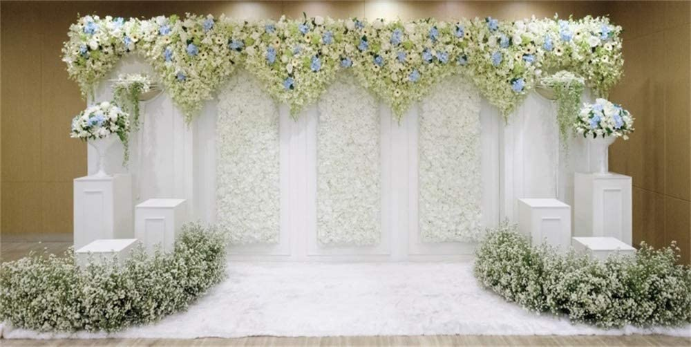AOFOTO 15x8ft Indoor Wedding Ceremony Backdrop White Flowers Wall Bridal Shower Background for Photography Company Enterprise Opening Ceremony Anniversary Decoration Banner Photo Studio Props Vinyl