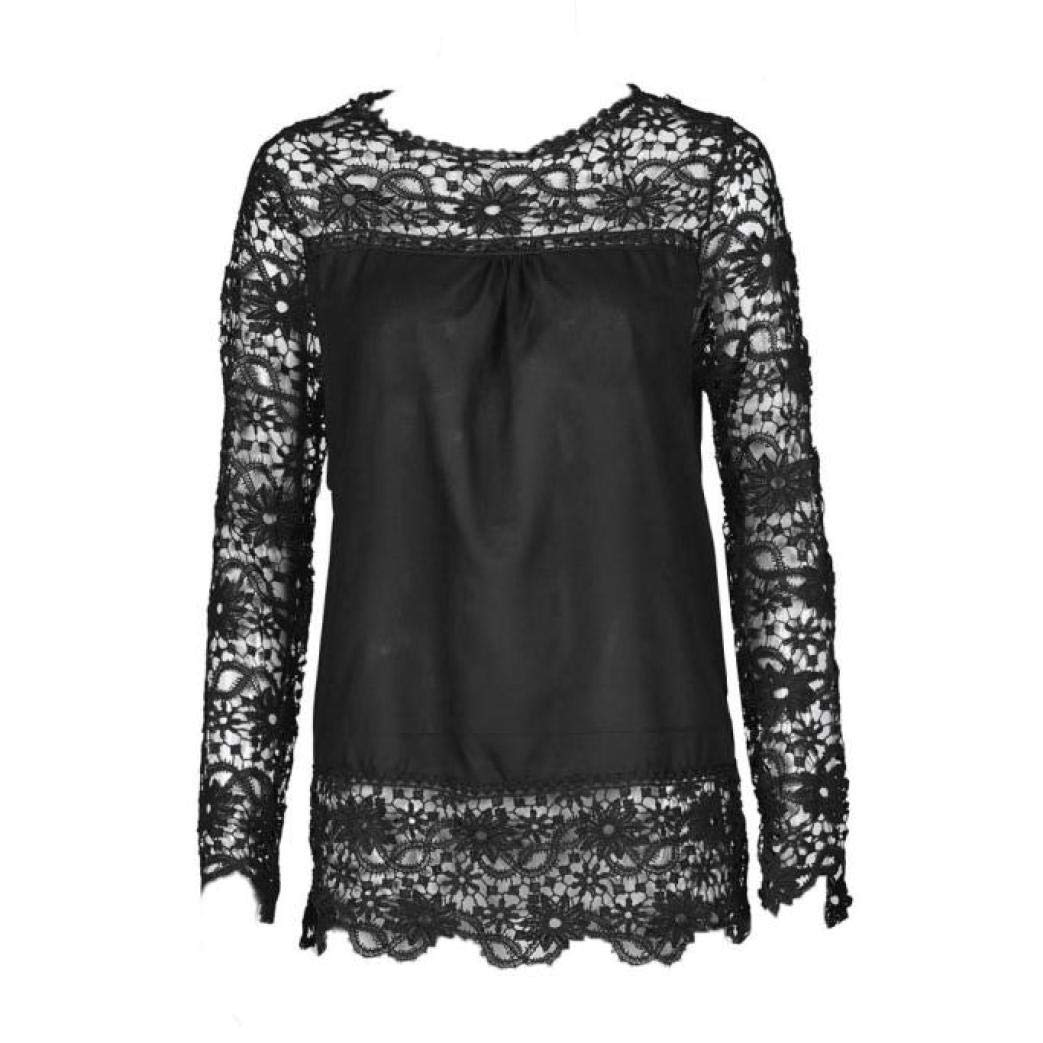 Women Plus Size Hollow Out Lace Splice Long Sleeve Shirt Casual Blouse Loose Top(Black,Medium) by iQKA (Image #2)