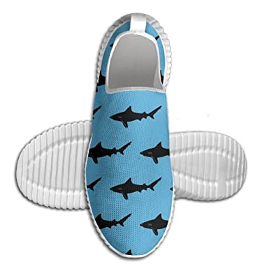 Green Shark Pattern Breathable Fashion Sneakers Running Shoes Slip-On Loafers Classic Shoes