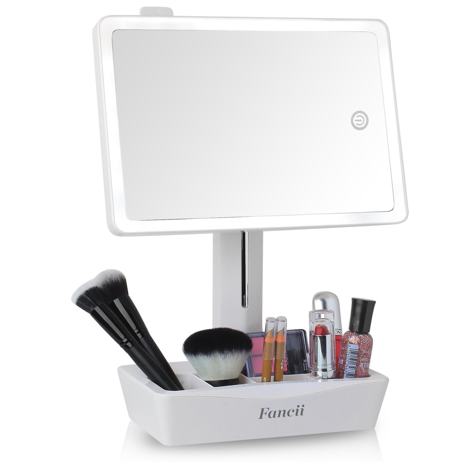 Fancii LED Lighted Large Vanity Makeup Mirror with 10X Magnifying Mirror - Dimmable Natural Light, Touch Screen, Dual Power, Adjustable Stand with Cosmetic Organizer - Gala