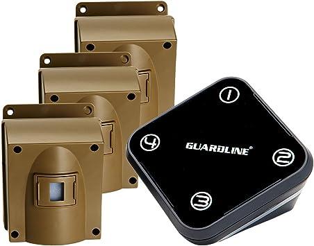 Wireless Driveway Alarm w//Three Sensors Kit Outdoor Weather Resistant Motion Sensor//Detector- Best DIY Security Alert System- Protect Home Garage Yard Pool Perimeter Gate