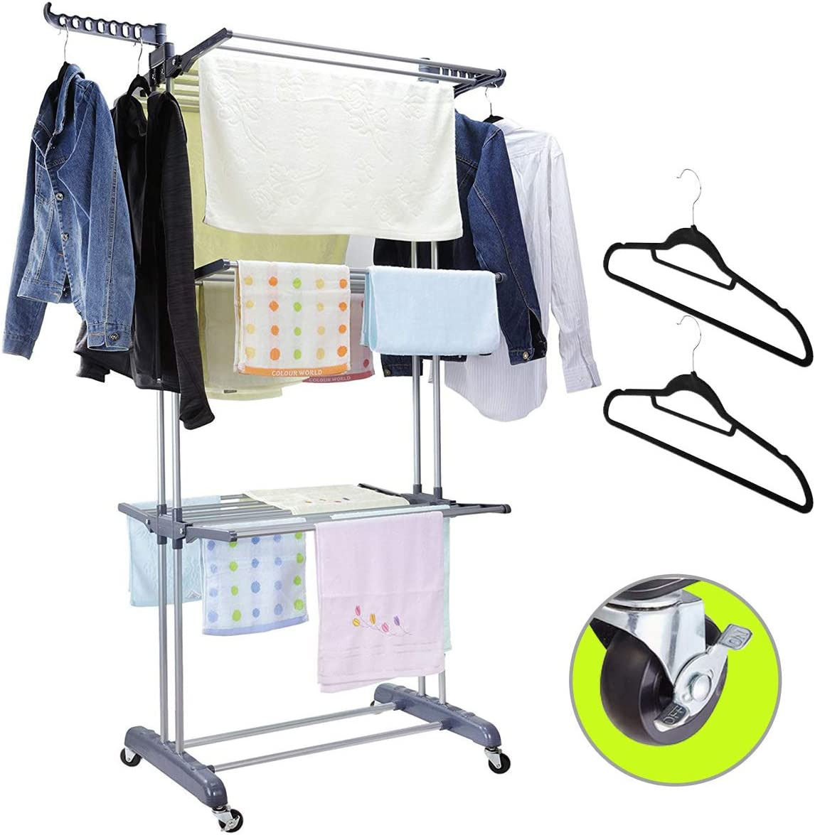 MIZG Clothes Drying Rack,3 Tier Rolling Dryer Clothes Hanger,Collapsible Garment Laundry Rack with Foldable Wings and Casters Indoor/Outdoor,Large Standing Rack Stainless Steel Hanging Rods(Gray)