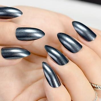 Juego de 24 uñas postizas de acrílico con purpurina brillante y acabado UV, puntas de acrílico con diseño de almendras y uñas falsas Z761: Amazon.es: ...