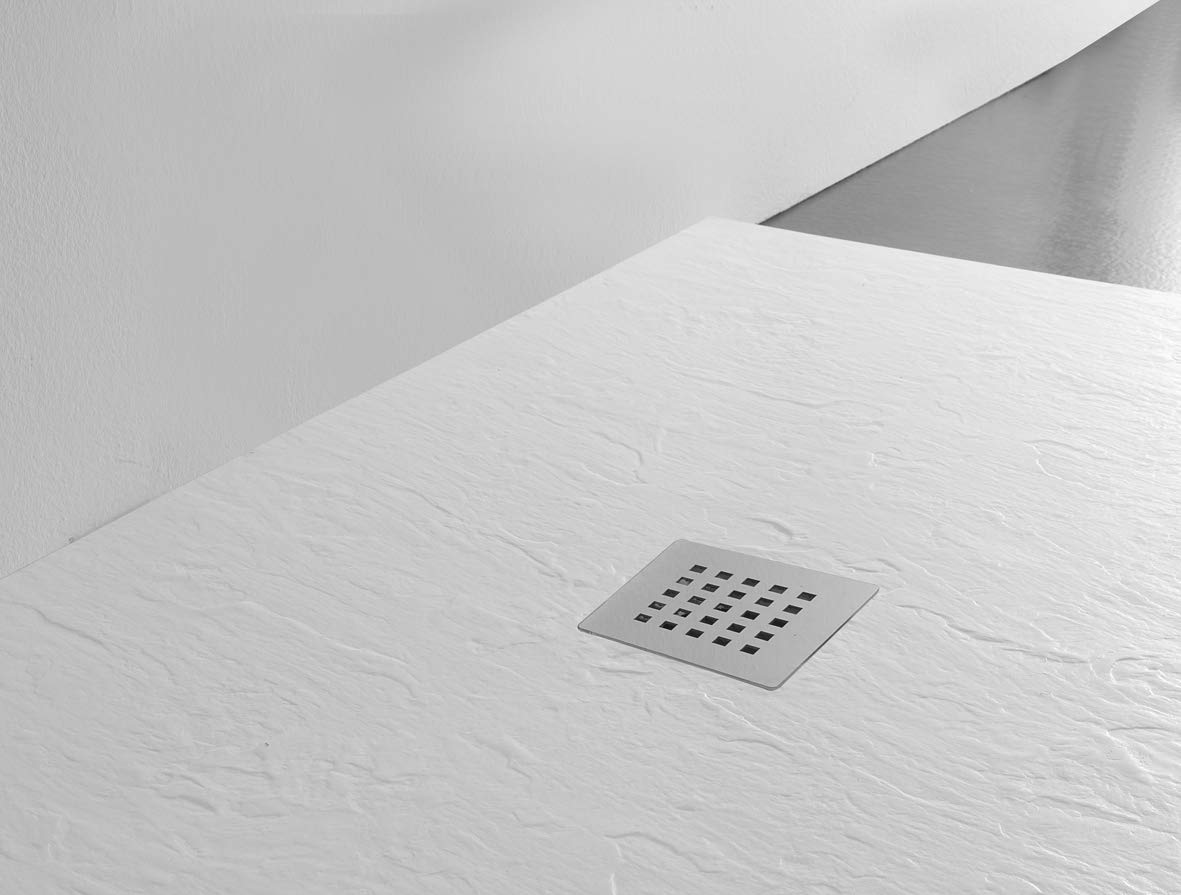 slim 3 cm s/érie Venezia en marbre min/éral effet pierre ardoise rev/êtement en Gelcoat blanc Receveur de douche fabriqu/é en Italie blanc 90x120