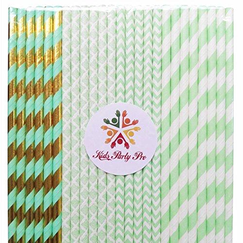 100 pcs Mixed Mint Paper Straws, Mint Green Striped Chevron Damask Gold Foil Stripe Beverage Paper Drinking Straws Bulk, Wedding Birthday Party Baby Bridal Shower Cake Pop Sticks