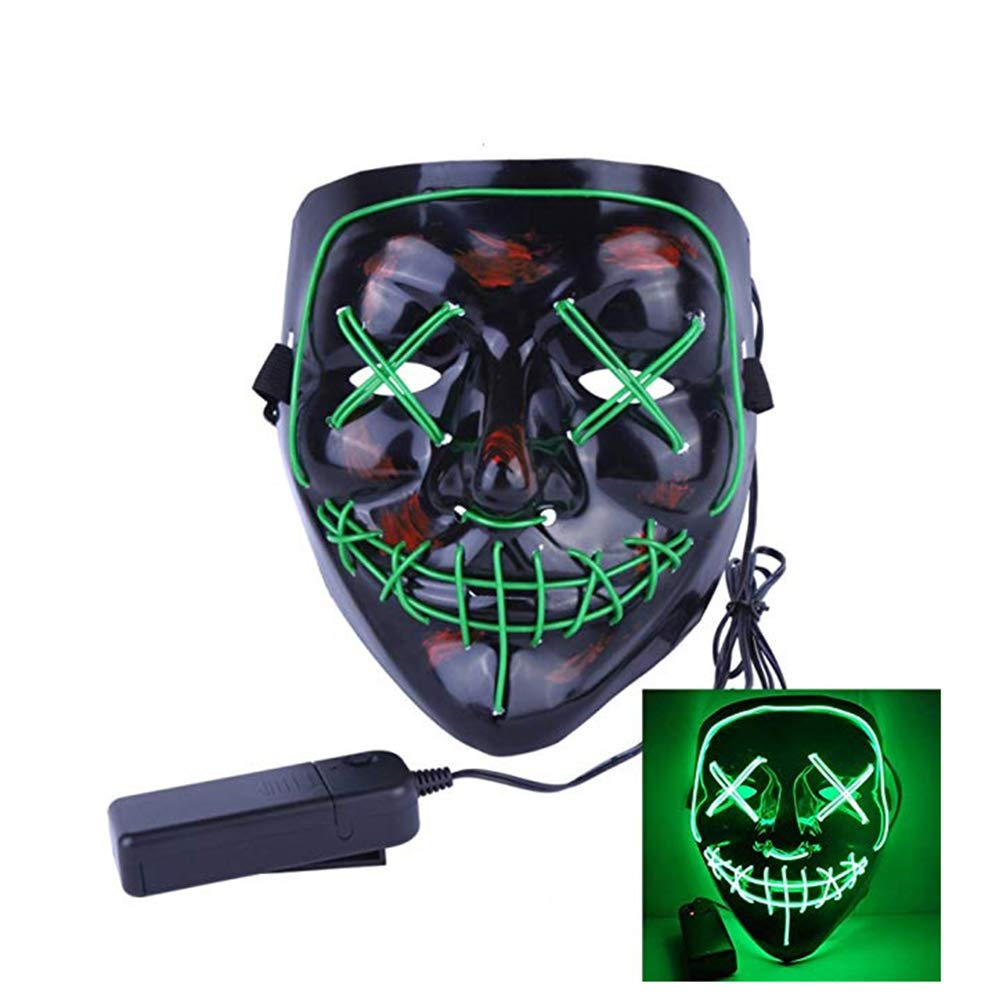 HUATK Halloween Led Mask Cosplay Fluorescent Green Night Glow Mask for Party Costume Decoration Festival