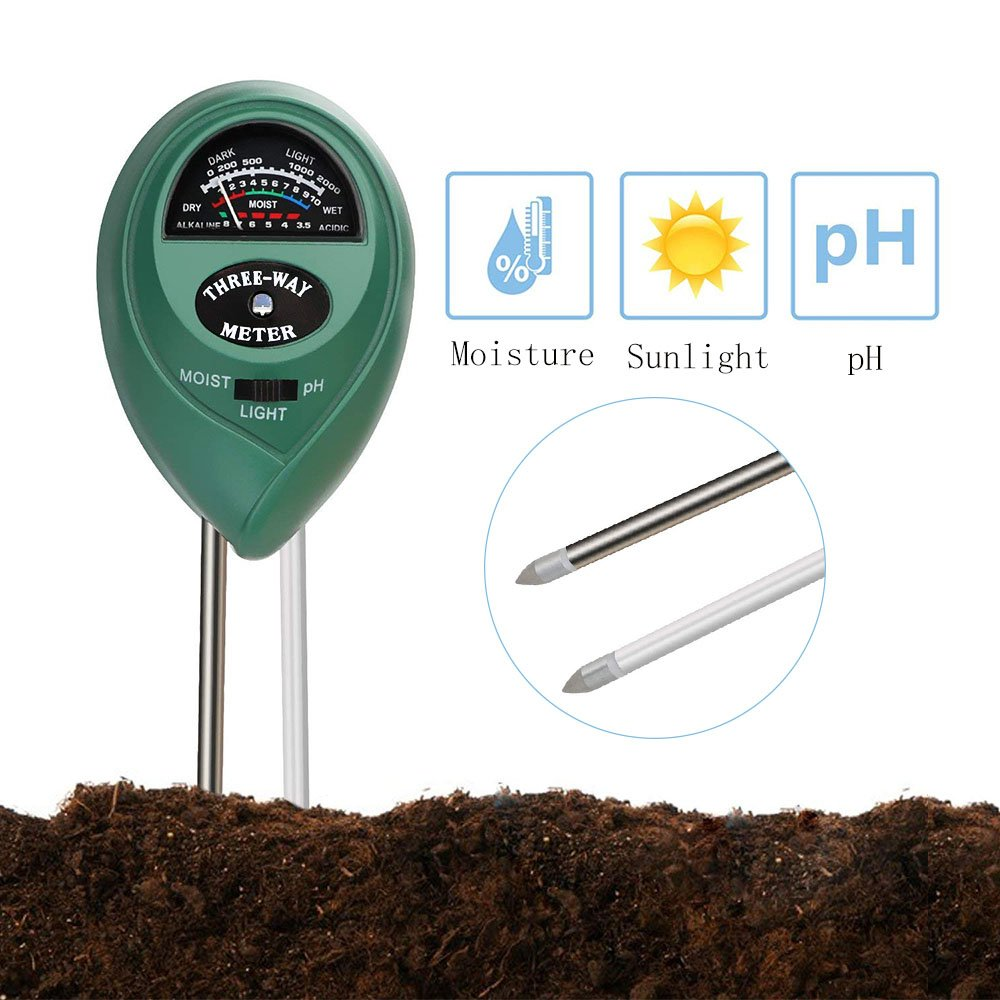 HYCKee 3-in-1 Soil Moisture Meter, Light and pH Acidity Tester Plant Tester for Garden, Farm, Lawn Plants Indoor and Outdoor(No Battery needed)