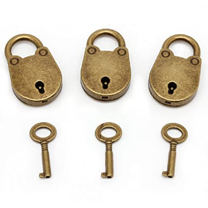 1eabe81eae72 kathson Old Vintage Antique Style Mini Archaize Padlocks Key Lock with Key  (Lot of 3,Antique,Love)) (Antique Style)