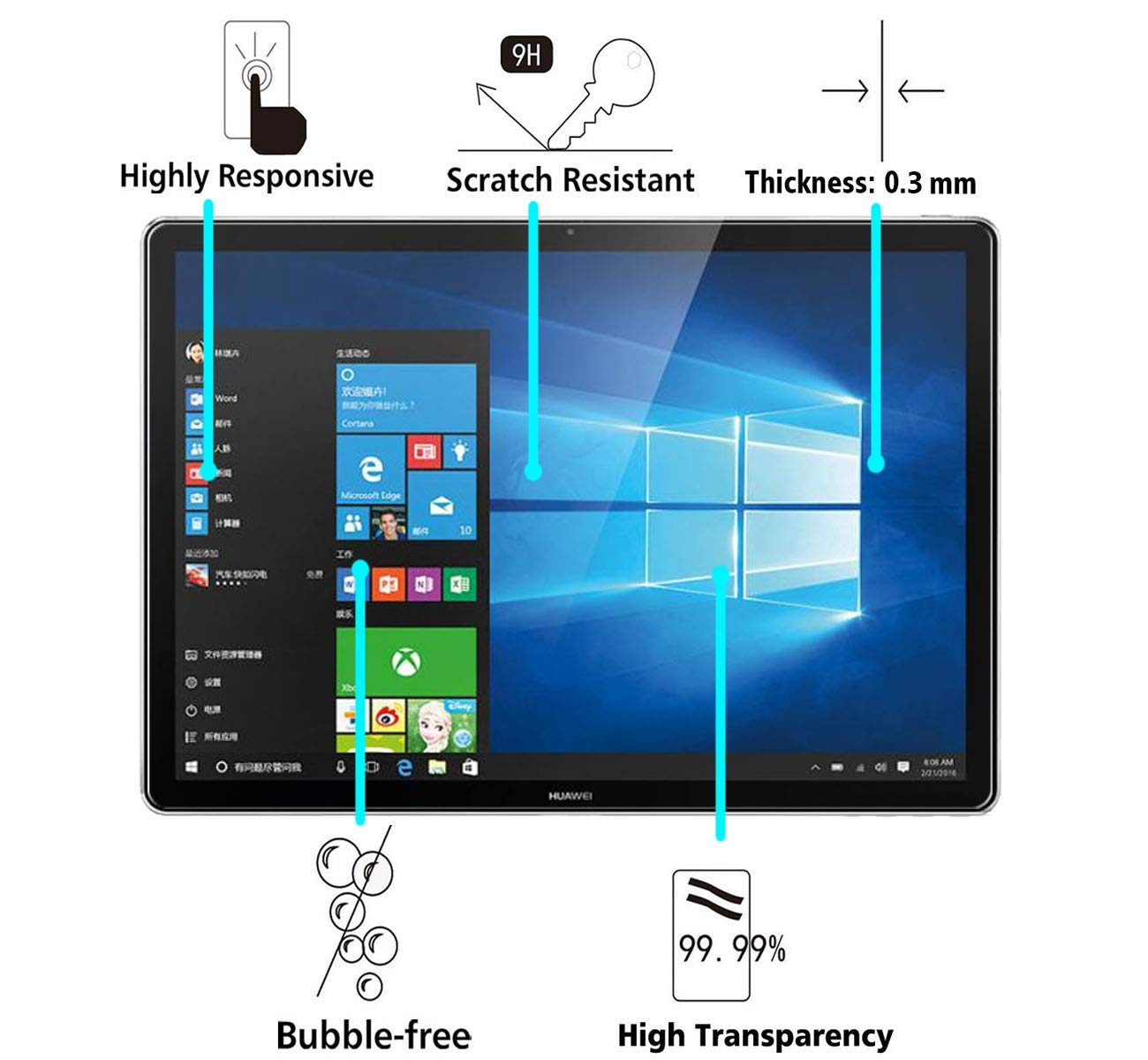 iVoler Protector de Pantalla para Huawei MateBook, Cristal Vidrio Templado Premium: Amazon.es: Electrónica