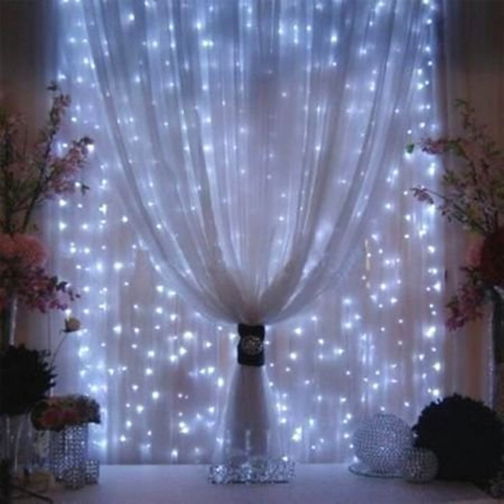 releeder LED Curtain String Light, 304 LED Icicle Light String, 9.8ft x 9.8ft, 8 Modes Setting, Fairy String Twinkle Lights for Indoor Outdoor Decoration Wedding Party Garden (White)