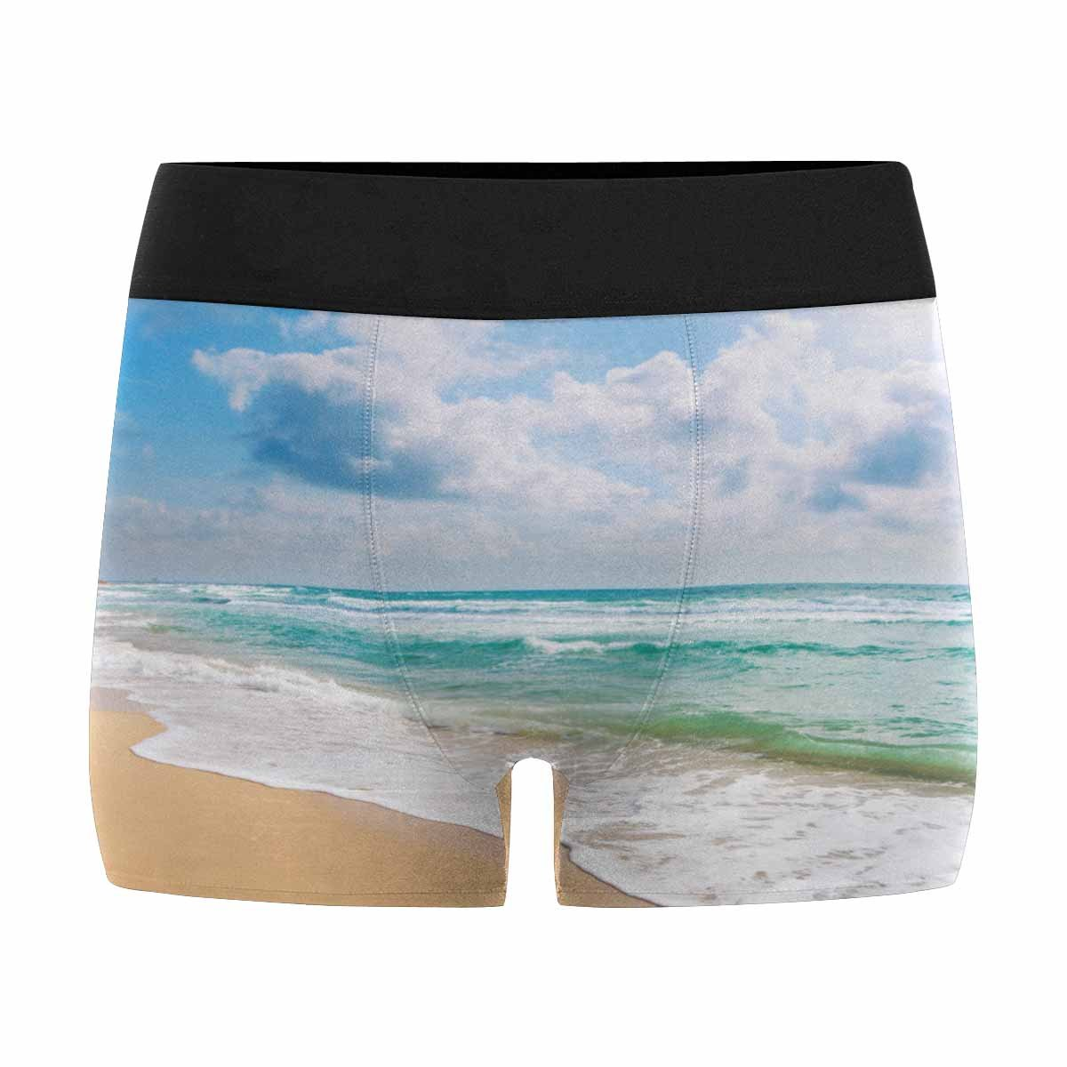 INTERESTPRINT Mens Boxer Briefs Sandy Beach Blue Sunny Sky