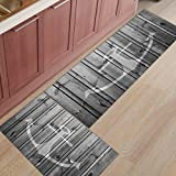 Z&L Home 2 Pieces Kitchen Rugs and Mats Non Slip Rubber Backing Floor Carpet Accent Area Runner Thin Low Pile Indoor Doormat Set-Country Rustic Wood Board Nautical Anchor