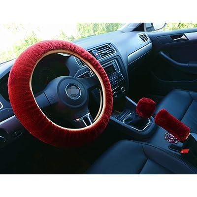Cdycam Non-slip Car Decoration Steering Wheel Handbrake Gear Shift Cover Plush New (Wine Red): Automotive