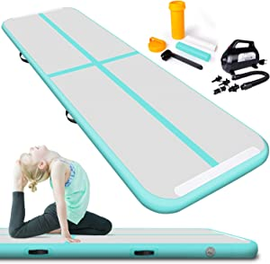 Lamlingo 2/3/4/5/6/7/8/9/10/11/12 Inflatable Gymnasium Mat Indoor Outdoor/Gym/Training/Gymnastics Mat Inflatable Air Runway Fitness Mat with 600W Electric Air Pump
