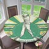 Mikihome Circular Table Cover Poster Print Man Playing Golf Golf Club Quote on