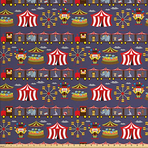Lunarable Circus Fabric by The Yard, Vintage Inspired Carousel Ferris Wheel and Clown Carnival Theme Park Pattern Animals, Decorative Fabric for Upholstery and Home Accents, 1 Yard, Multicolor