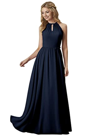 5ecad5c5247 Women s Ruched Chiffon Halter Evening Dress Floor Length A-line Bridal  Party Gown Navy Blue