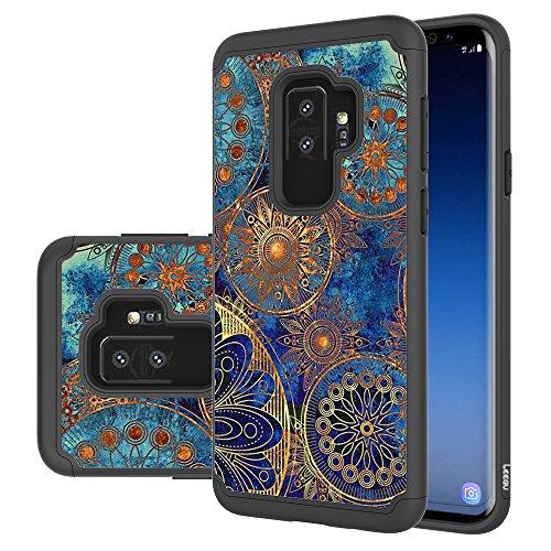 Samsung Galaxy S9 Plus Case, LEEGU [Shock Absorption] Dual Layer Heavy Duty Protective Silicone Plastic Cover Rugged Case for Samsung Galaxy S9+ Plus 2018 - Gear Wheel