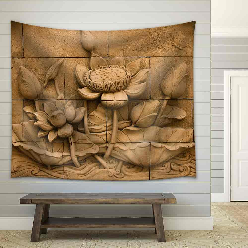 wall26 - a Stone Inscription of a Flower, Thai Style of Buddhism - Fabric Wall Tapestry Home Decor - 68x80 inches by wall26