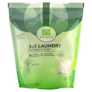 Grab Green Natural 3 in 1 Laundry Detergent Pods, Vetiver-With Essential Oils, 60 Loads, Organic Enzyme-Powered, Plant & Mineral-Based, 34 Ounce