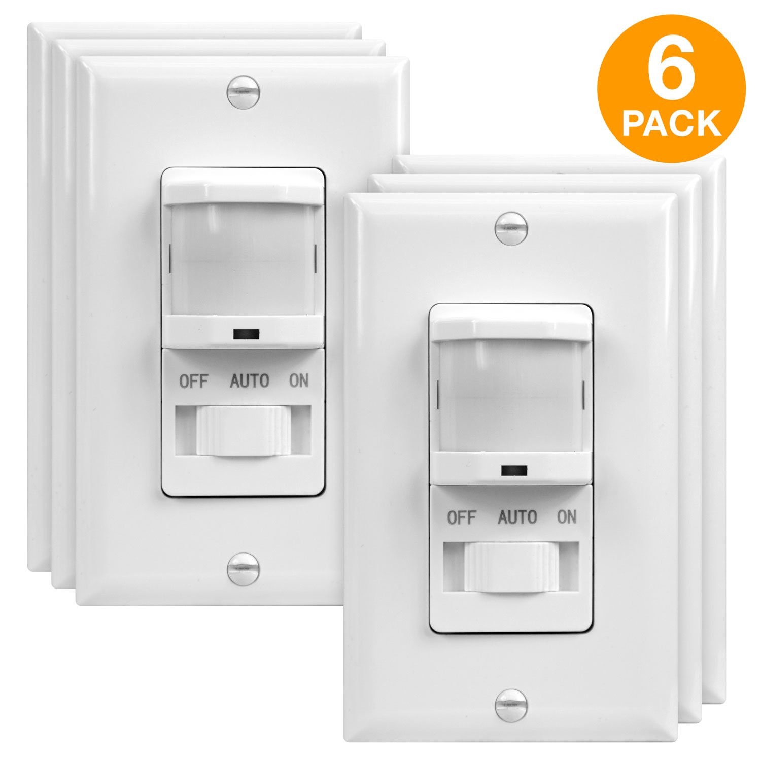 TOPGREENER TSOS5-W-6PCS PIR Sensor Switch, Occupancy Sensor Switch, Motion Sensor Switch, On/Off Override, 500W, Single Pole, NEUTRAL WIRE REQUIRED, White, 6 Pack