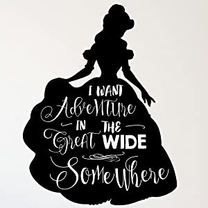 CustomVinylDecor Beauty and The Beast Bell Vinyl Wall Sticker | I Want Adventure Home Decor Decal for Girl's Bedroom or Playroom | Small, Large Sizes | Black, Brown, Green