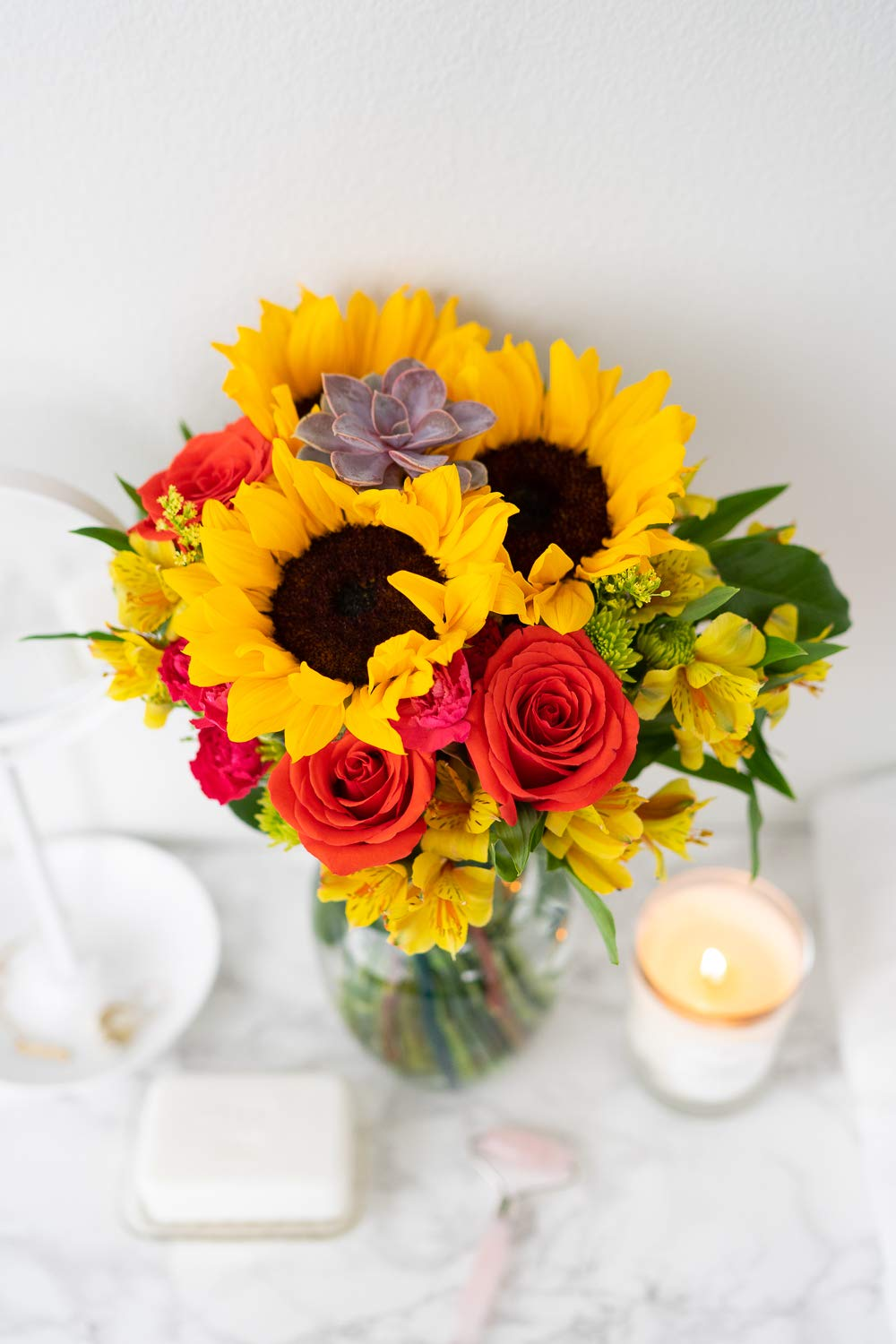 Flowers - Sunflower Succulent Bouquet (Free Vase Included)