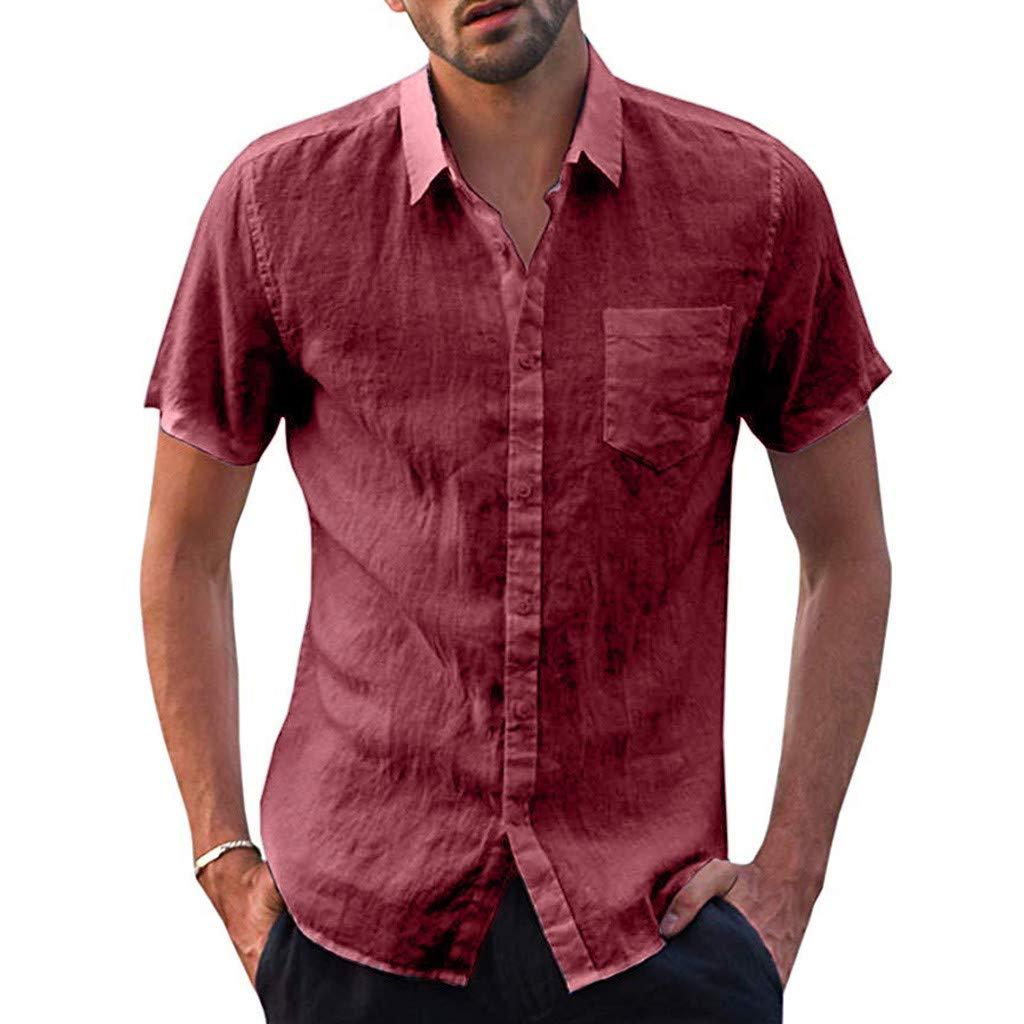 MensBaggy Cotton Linen Solid Short Sleeve Button Retro T Shirts Tops Blouse T-Shirt Mote Mens Clothes