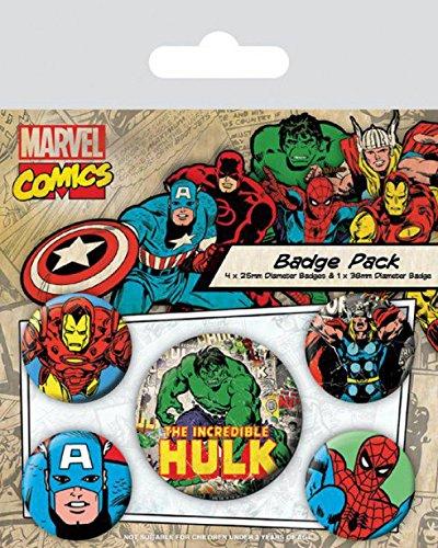 1 X 38mm /& 4 X 25mm Chapas Set De Chapas 1art1/® Set: Los Vengadores The Incredible Hulk 15x10 cm Y 1x Pegatina Sorpresa