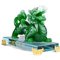 ZYHJAMA Feng Shui Pi Yao/PI Statua di prosperità XIU, Imitazione di Artigianato di Giada Decorazione del Salone, 6,3 X 5,5 Pollici Decorazione FengShui