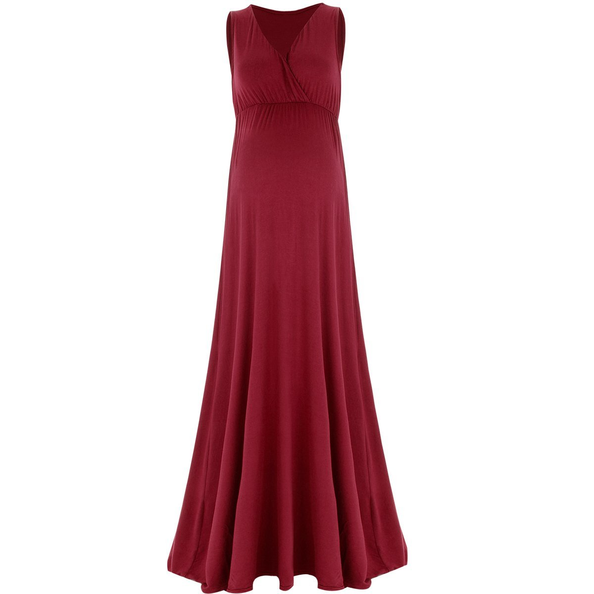 IWEMEK Women Sleeveless Ruched V Neck Maternity Dress Photo Shoot Long Maxi Gown