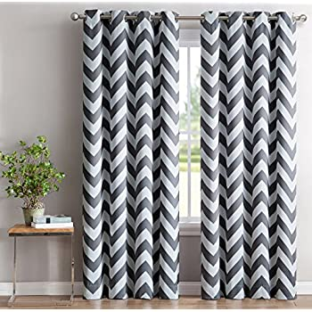 Awesome ME Chevron Print Thermal Insulated Blackout Window Curtain Panels, Pair,  Chrome Grommet