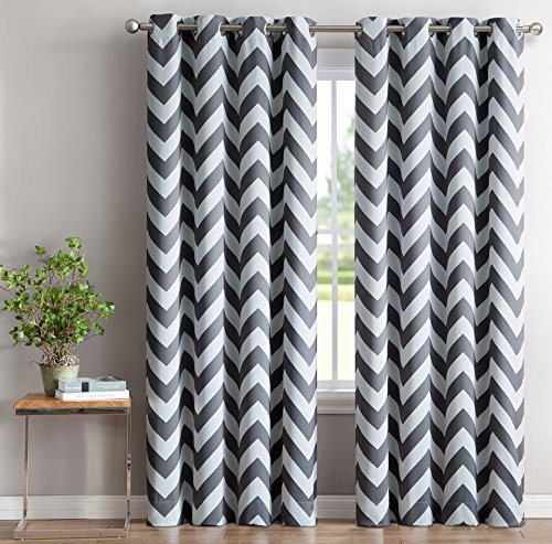 HLC.ME Chevron Print Thermal Insulated Room Darkening Blackout Window Curtains for Bedroom - Grey - 52