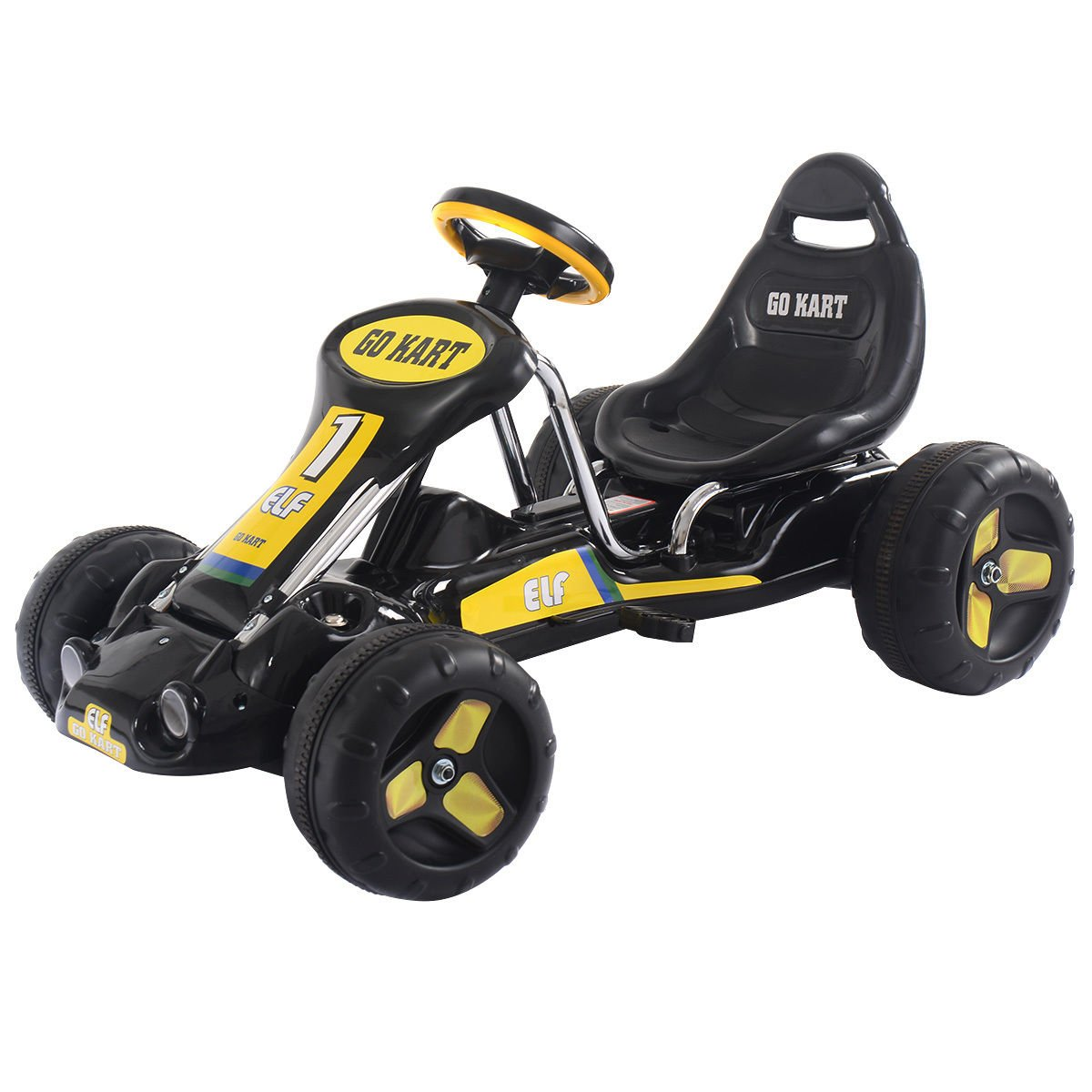 Costzon Go Kart, 4 Wheel Kids Ride on Car, Pedal Powered Ride On Toys for Boys & Girls with Adjustab (Black)