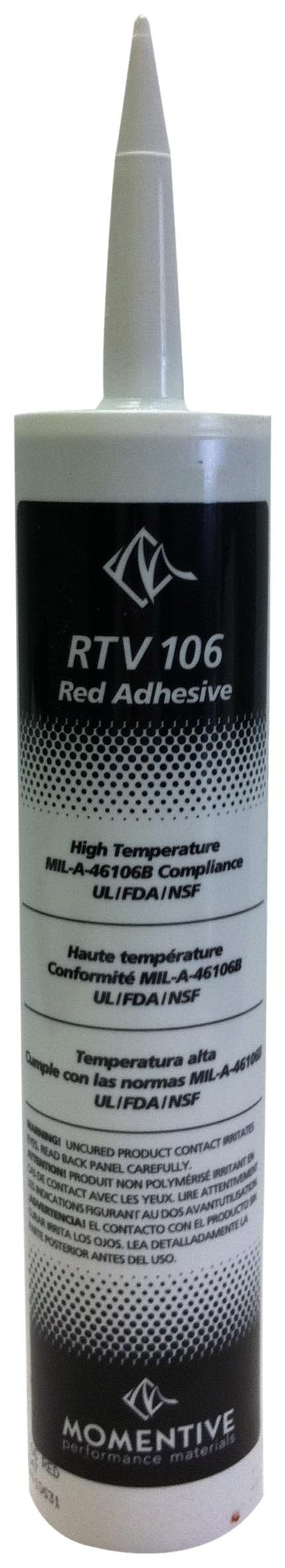 Momentive RTV106 One Part Silicone Sealant, 10.1 Ounce Caulker, Red by Momentive