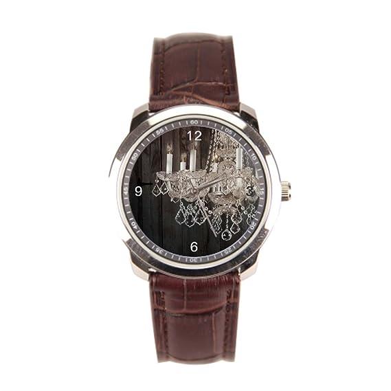 Dr. Koo lámpara de araña para hombre muñeca reloj país piel puño reloj: Amazon.es: Relojes
