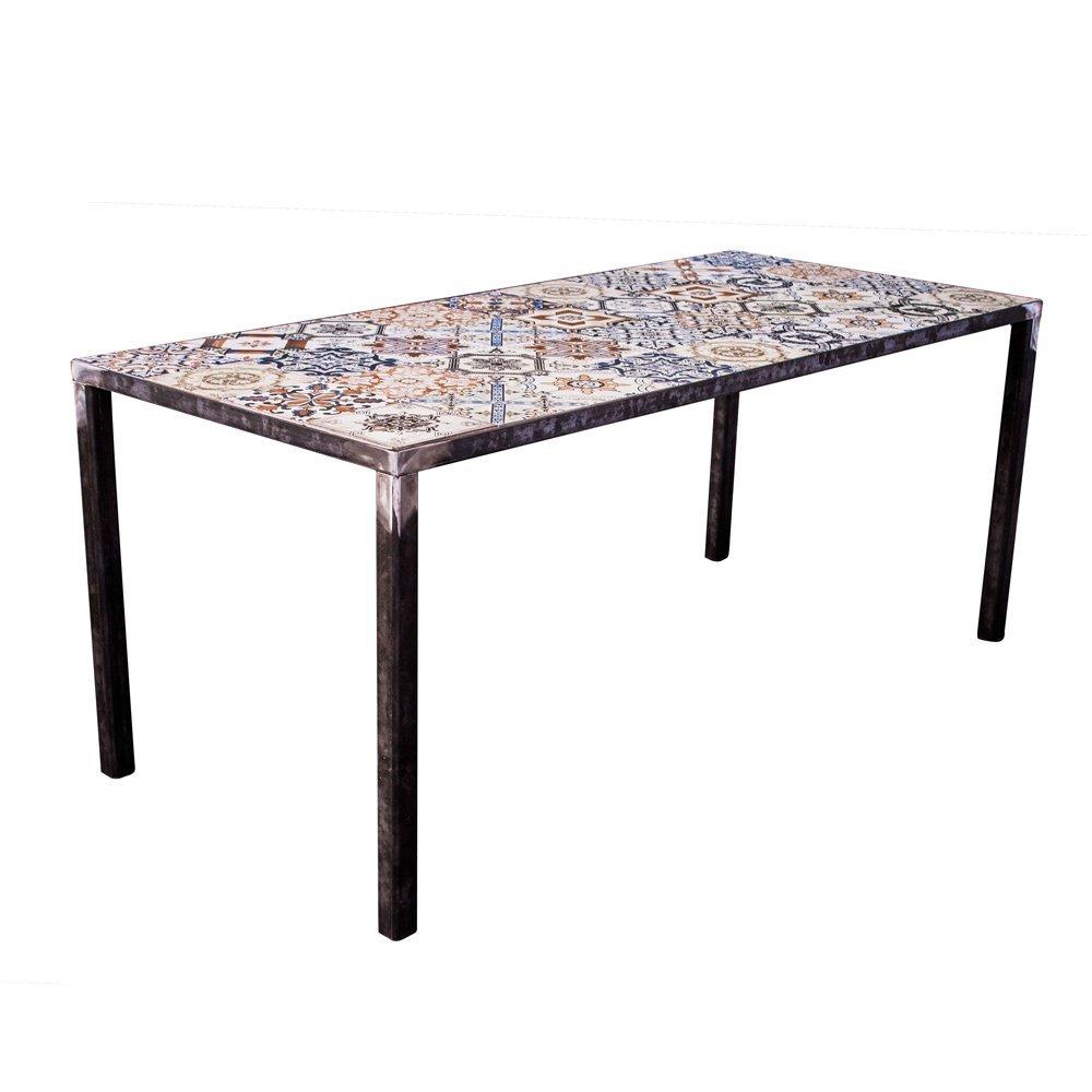 lounge-zone Design Esstisch Esszimmertisch IBIZA Metallgestell Tischplatte Mosaik Fliesen 180x80cm 13815
