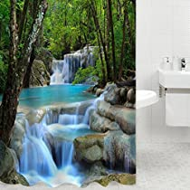 Shower Curtains, Magicook 3D Waterfall Nature Scenery Bath Curtain Waterproof Cloth Shower Curtain Liner for Bathroom