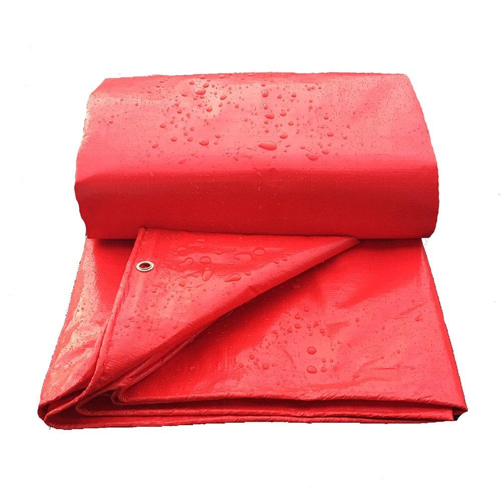 ZEMIN オーニング サンシェード ターポリン 防水 日焼け止め テント シート ルーフ 防風 防塵の 織り ポリエステル、 赤、 160G/M²、 7サイズあり (色 : 赤, サイズ さいず : 4X8M) B07D5VVM64 4X8M|赤 赤 4X8M