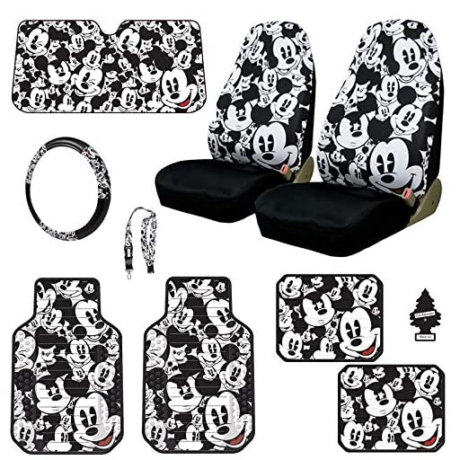 Yupbizauto Disney Mickey Mouse Car Seat Covers Floor Mats Steering Wheel Cover Lanyard Accessories Set with Air Freshener