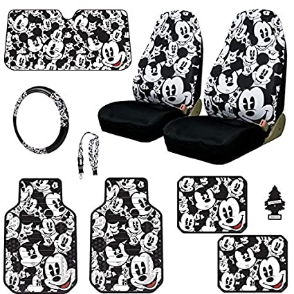 Yupbizauto Disney Mickey Mouse Car Seat Covers Floor Mats Steering Wheel Cover Lanyard Accessories Set With
