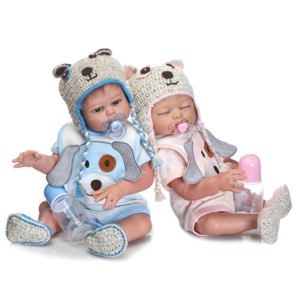 QXMEI Baby-Puppe Weich Simulation Silikon 20 Zoll 50 cm Magnetisch Mund Lebensechte Junge Mädchen Spielzeug