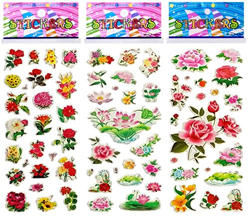6 Sheets Puffy Dimensional Scrapbooking Party Favor Stickers + 18 FREE Scratch and Sniff Stickers - FLOWERS_2 Discount Scrapbook Stickers