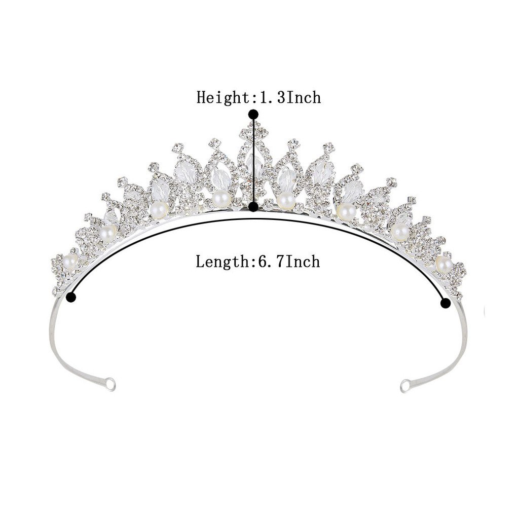 BriLove Women's Crystal Victorian Style Simulated Pearl Bling Wedding Bridal Crown Hair Tiara Silver-Tone by BriLove (Image #5)