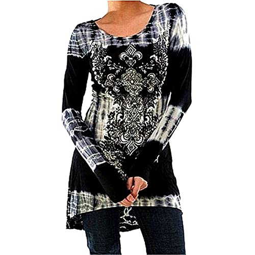 Hibote Plus Size Womens Vintage Blouses Gothic T Shirts Printed Long Shirts Long Sleeve Tops